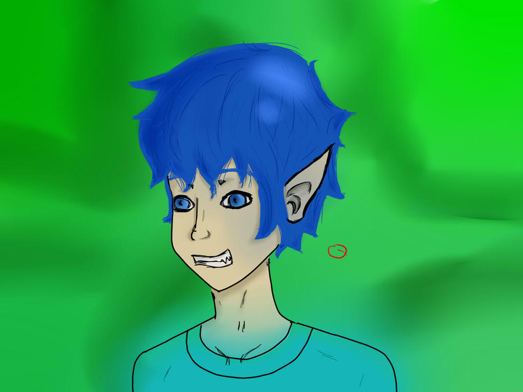 blue haired dude on a green background by otakugaelle