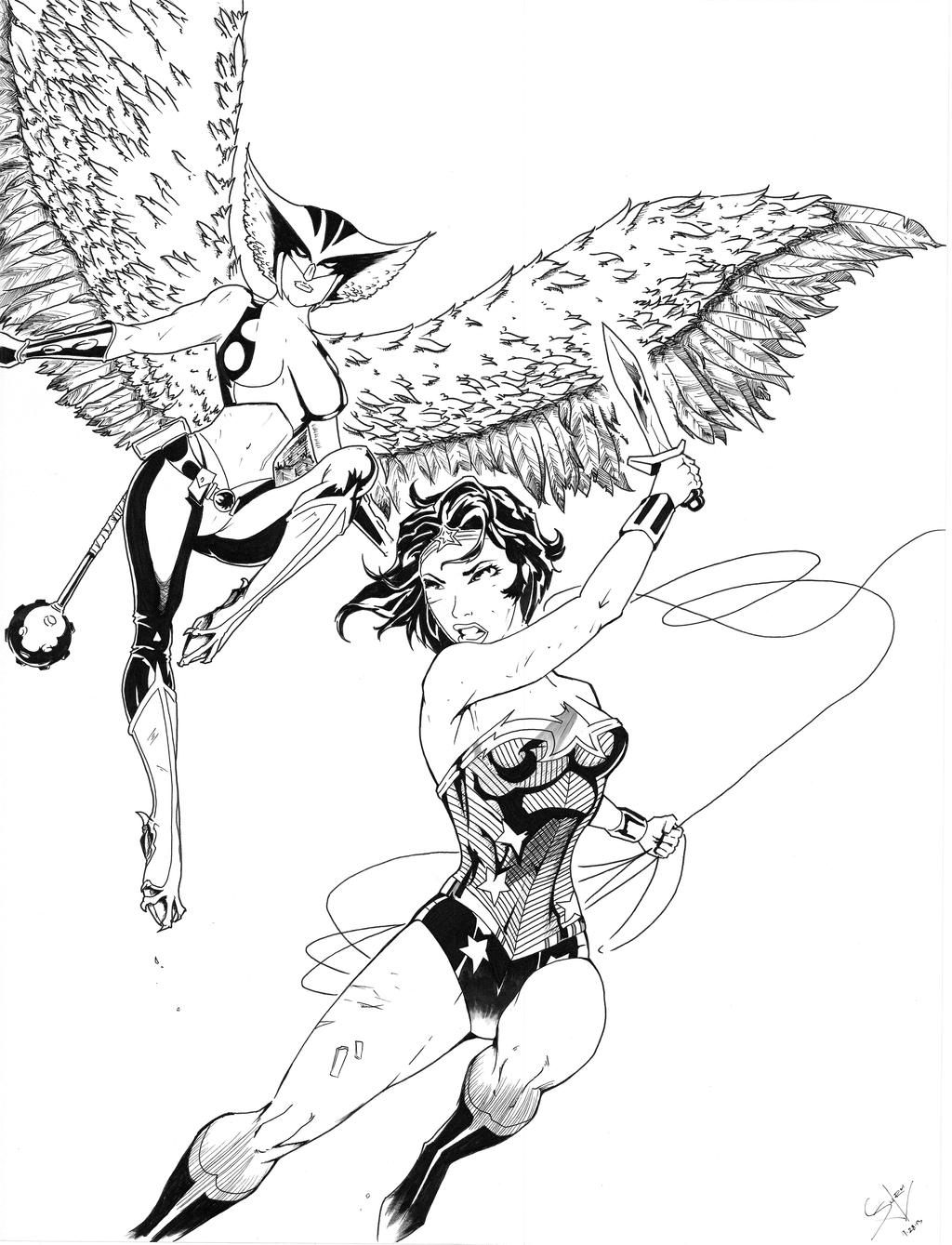 wonder woman and hawkgirl by furuarrow on deviantart