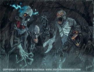MONSTERS IN THE RAIN by Hartman by sideshowmonkey