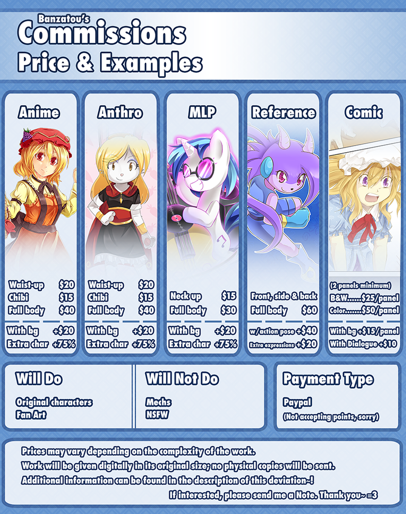 (OPEN) Commissions - Pricing and Layout by Banzatou