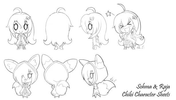Sohma and Raja Chibi character sheets