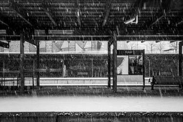 Snow on empty train platform