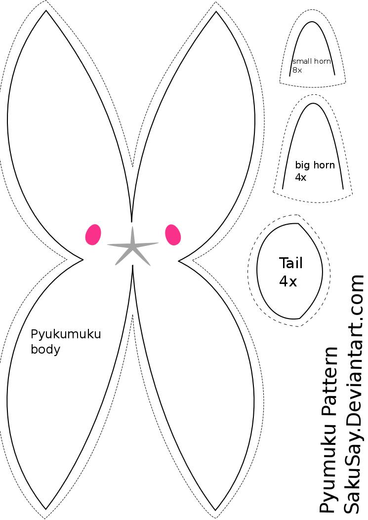 Free Pyukumuku Plush Sewing Pattern by SakuSay on DeviantArt