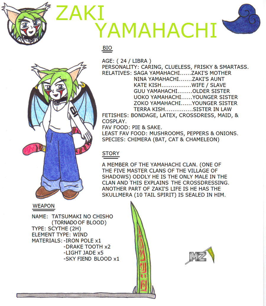 Character Bio: Zaki Yamahachi by metalzaki