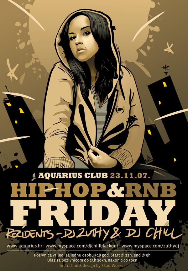 Aquarius Hip-Hop and RnB Flyer by skam4