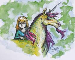 Yellow unicorn by LauraMSS