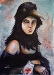 Raven girl watercolor