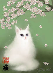The cat is under the cherry tree