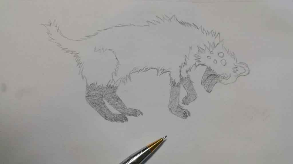 sketch of a hyena  by MellowTheWolf