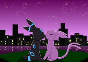 New Year 2020 - Cute Espeon and Umbreon