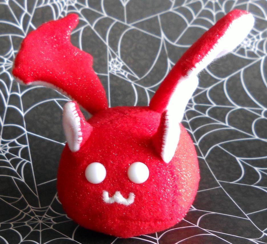 Puff Puggle - Red Glitter Bat by callykarishokka