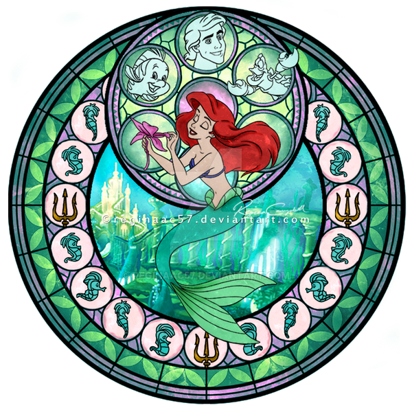 Princess Ariel - Kingdom Hearts Stain Glass Circle by reginaac57
