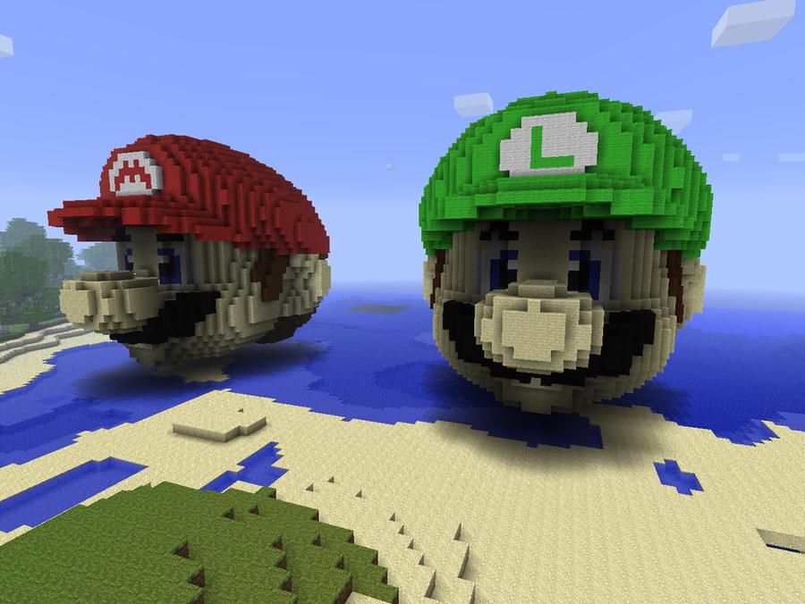 Mario and Luigi in Minecraft by chickenmobile