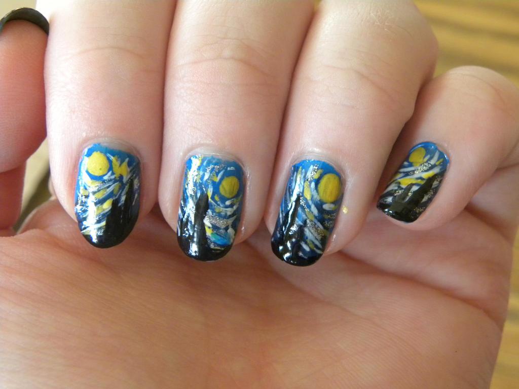Starry Night Nails By Moonchildmiranda On Deviantart