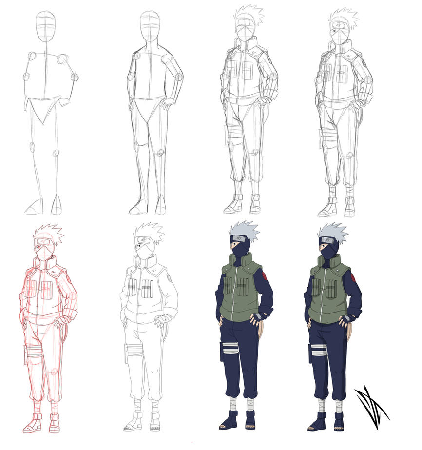 Step by step: Hatake Kakashi by Johnny-Wolf on DeviantArt