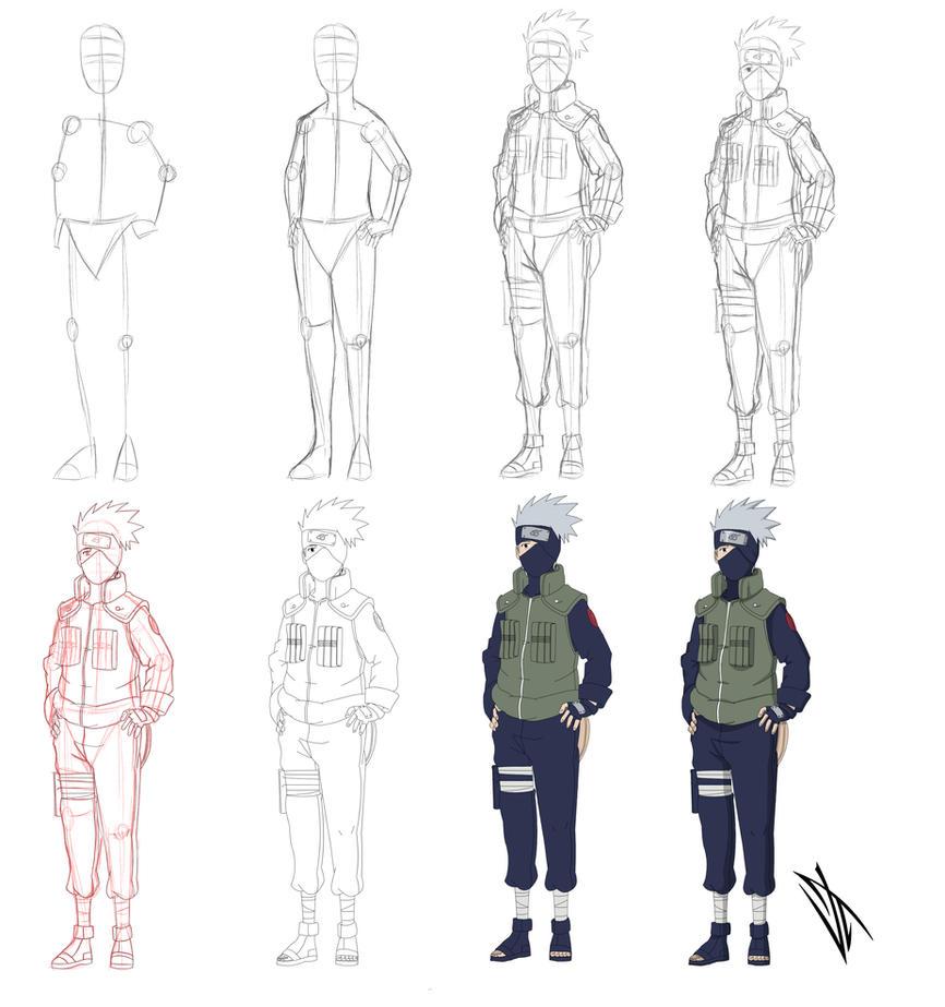 how to draw kakashi step by step slowly