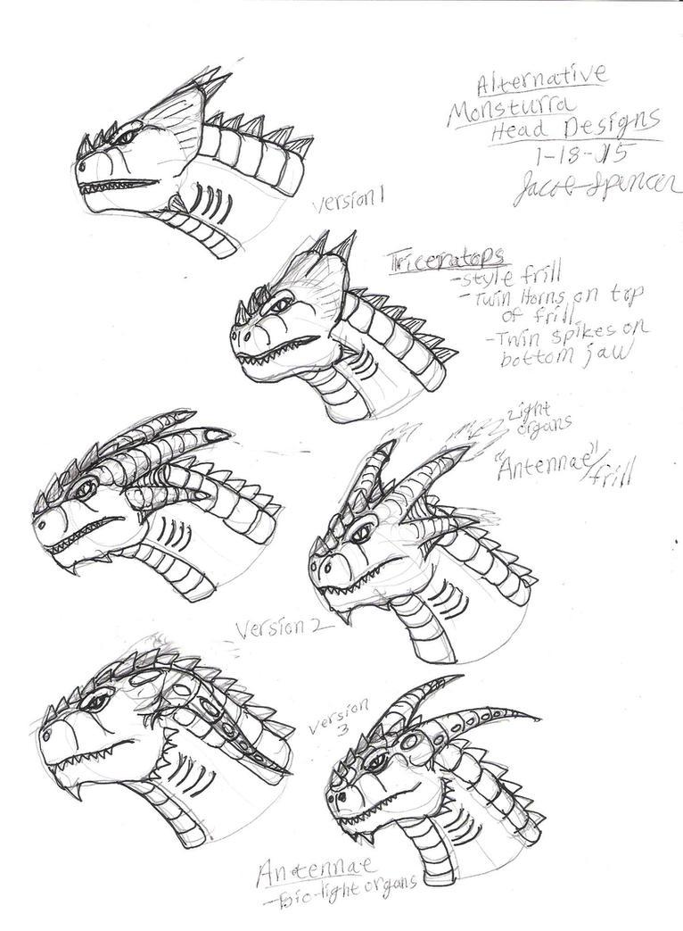 Alternative Monsturra Head Designs 1-18-15 by JacobMatthewSpencer