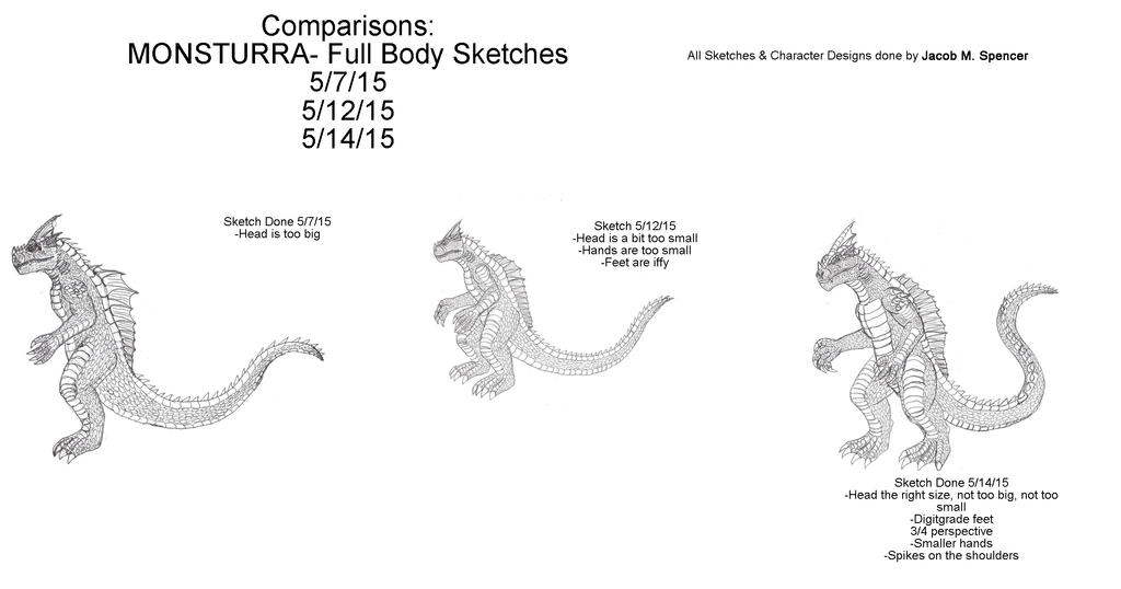 Comparisons- Monsturra-Full Body Sketches by BehemothMaker