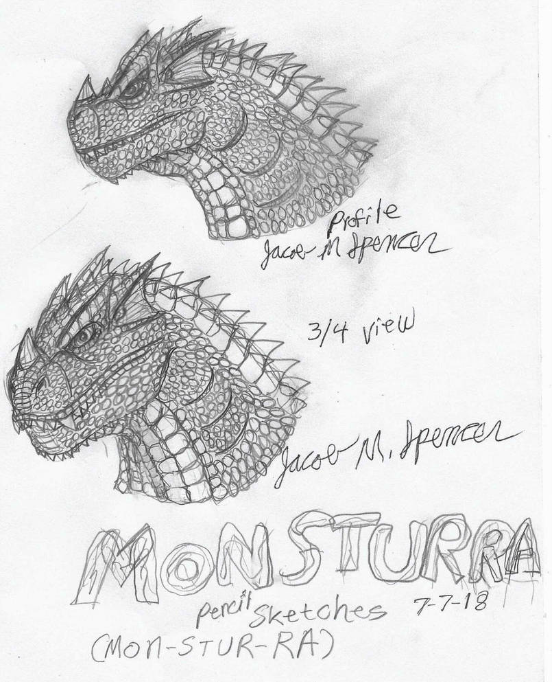 Monsturra pencil sketch 7 7 18 by jacobspencerkaiju79