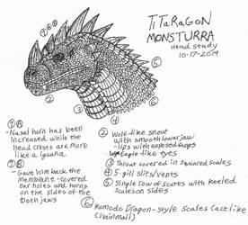 Titaragon Monsturra-Head Study-October 18, 2019