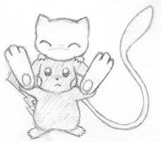 Mew Sitting on Pikachu doodle by sunnyfish