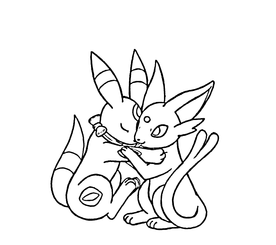 Umbreon + Espeon Snuggling by sunnyfish on DeviantArt