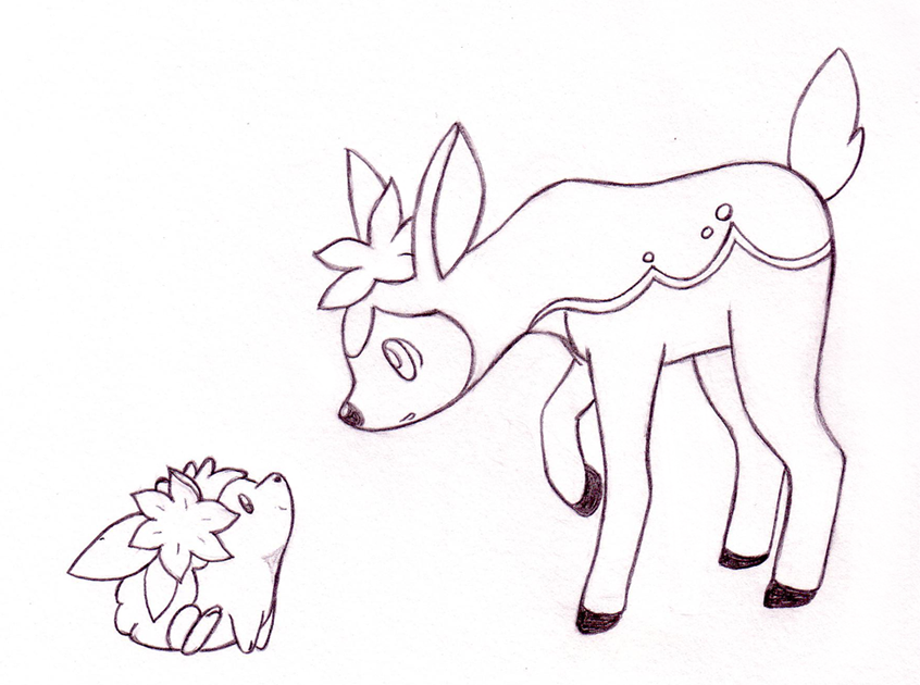 Shaymin meets shikijika by sunnyfish on deviantart for Deerling coloring pages
