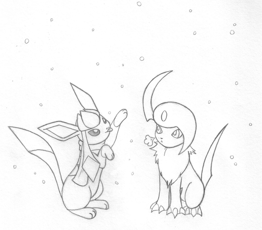 Glaceon and Absol BFF by sunnyfish