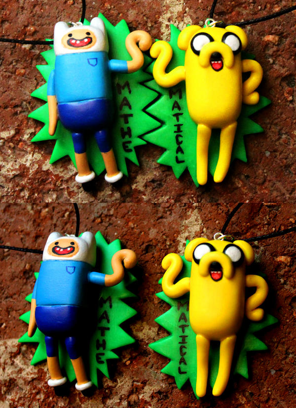 AT: Finn and Jake BFF Necklaces by crymsonlyze