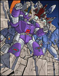 G1 Decepticon group poster 2 colors