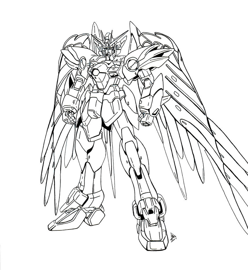 Wing zero inks by bdixonarts on deviantart for Wing coloring pages