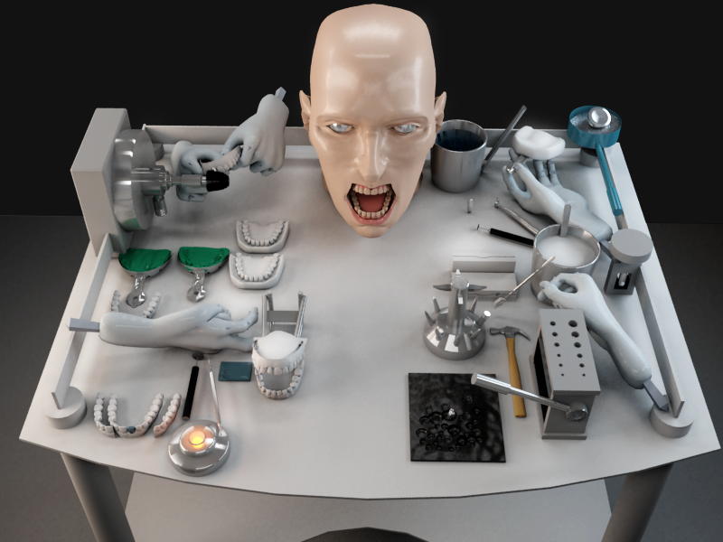 dentists tools and scary face by krutoy242 on deviantart