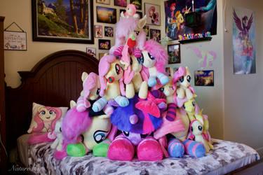Fluttershy Plushie Pile (Plus a Purple) 2021