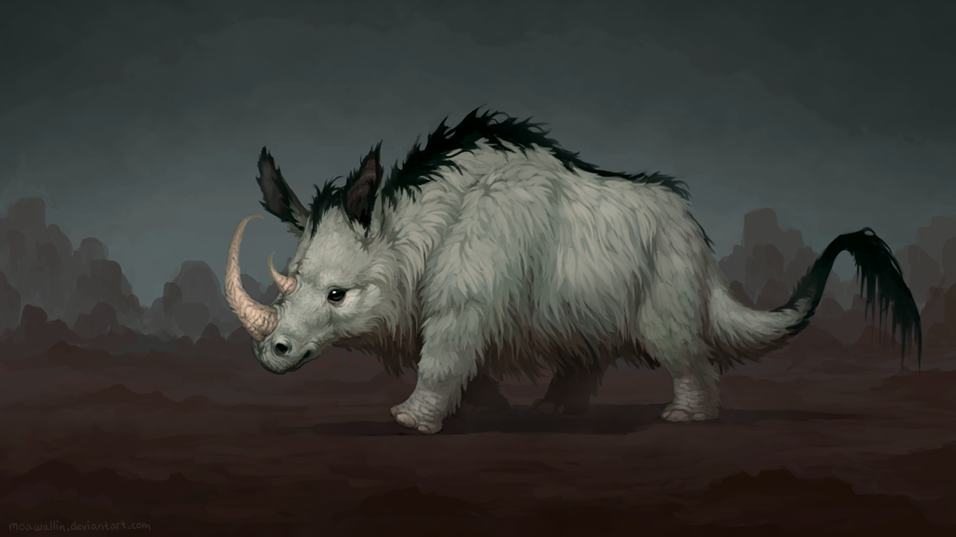Fluffy rhino by MoaWallin