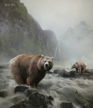 Bear and salmon by Son-Do