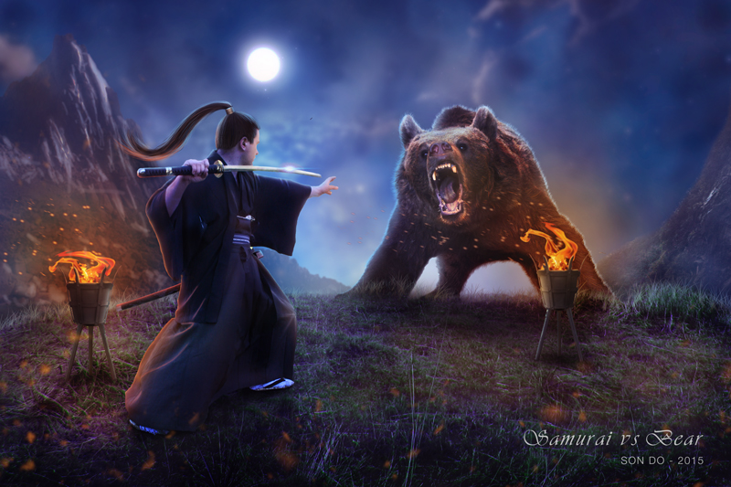 Samurai vs Bear by Son-Do