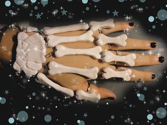 Skeleton Hand Ring-Bracelet by societyisfucked