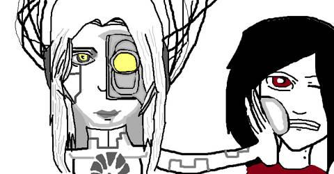 GLaDOS and Marceline by INfamousBlackTar