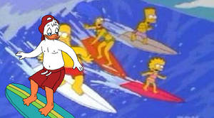 Future Louie Duck surfs with The Simpsons