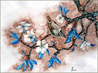 Bird on a flowering tree branch. by kosharik69