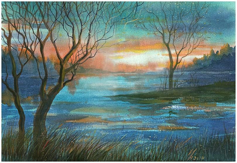 Evening at the lake by kosharik69