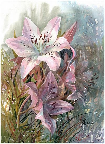Pink lily by kosharik69