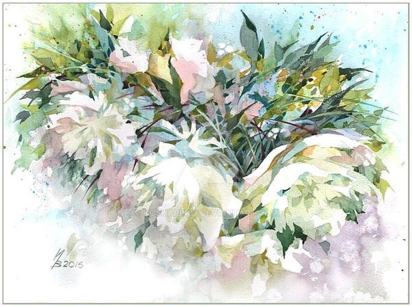 Lace white peonies by kosharik69