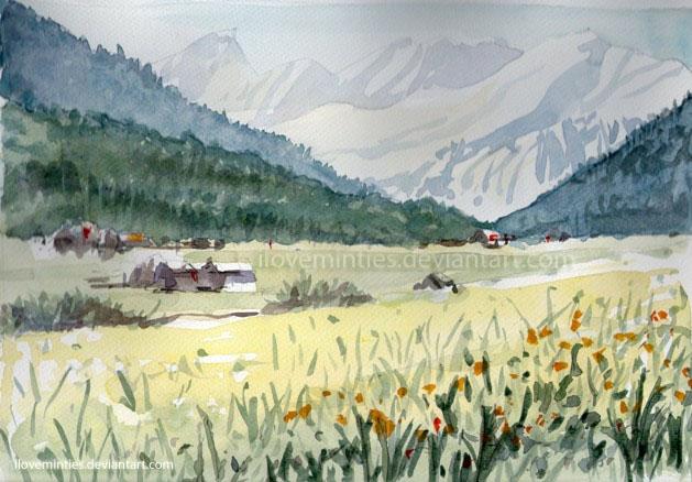 Watercolour Moutain Landscape by iloveminties