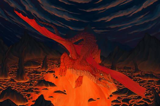 Flying over lava