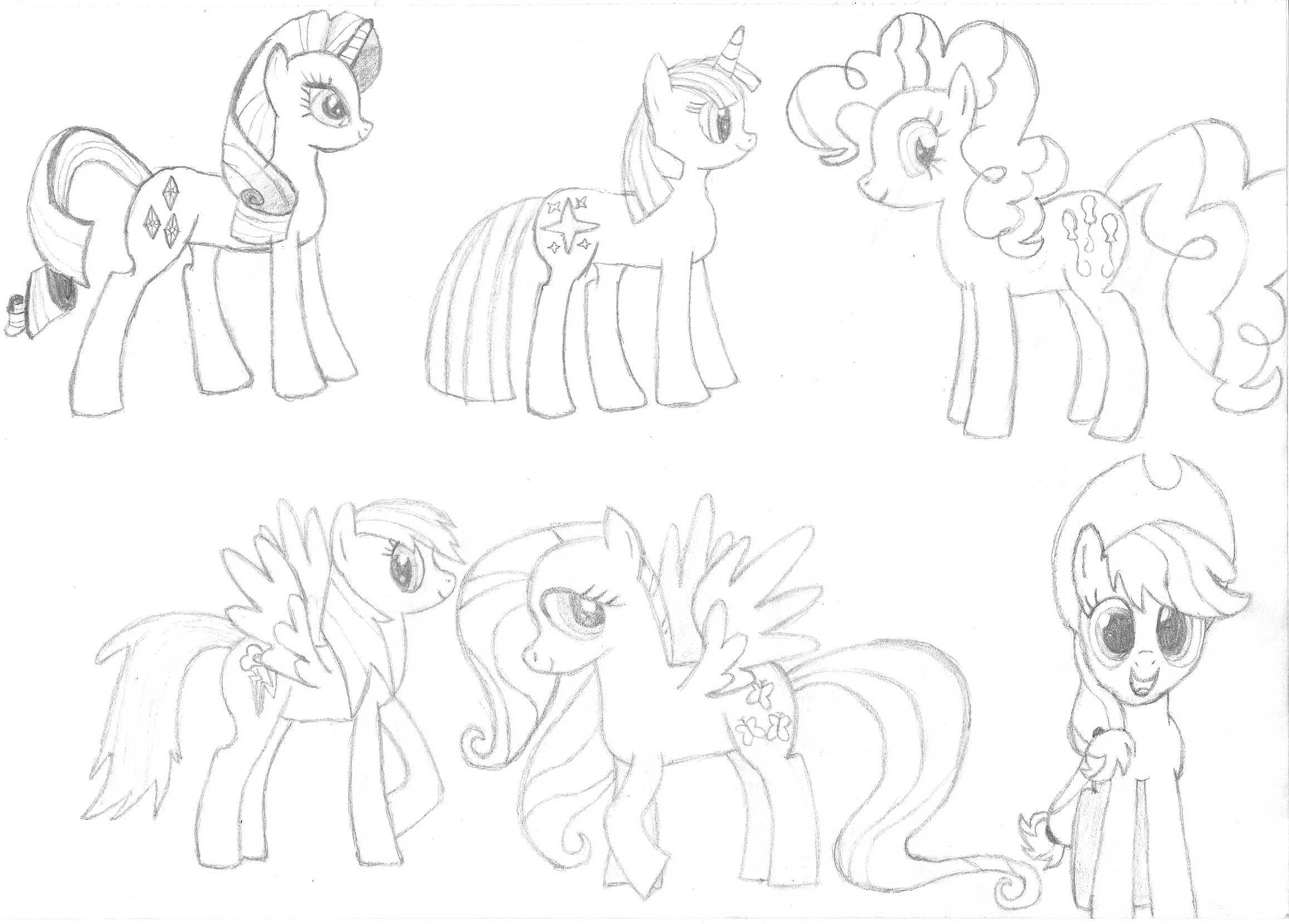 Mah pony drawing attempts Mlp_fim_main_characters_sketch_by_rohulk2008-d49gh7b