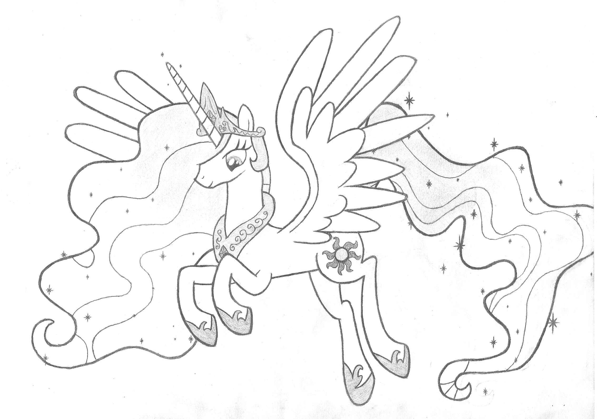Princess Celestia Sketch By Rohulk2008 On Deviantart