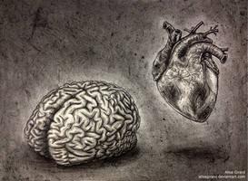 Self Portrait, minus the nonsense (brain + heart) by OdieFarber
