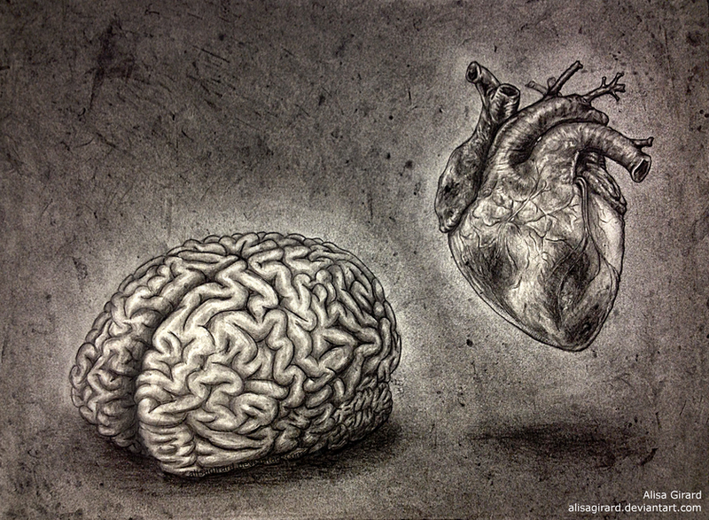 Self Portrait, minus the nonsense (brain + heart) by OdieFarber