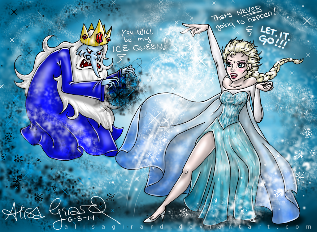 Adventure Time Ice King vs Frozen Elsa by OdieFarber